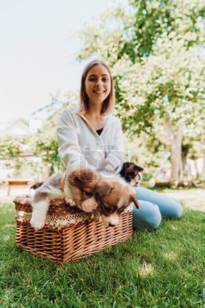 selective focus of happy blonde girl sitting in green garden near wicker box with adorable puppies