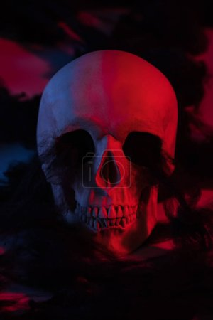 Photo pour Effrayant crâne humain dans l'éclairage rouge, décoration d'Halloween - image libre de droit