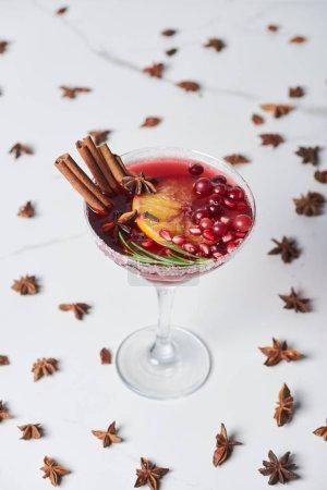Photo pour Foyer sélectif de cocktail de Noël avec orange, grenade et cannelle - image libre de droit