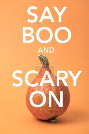 calabaza madura de Halloween sobre fondo naranja con decir boo y aterrador en la ilustración