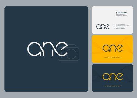 Illustration pour Lettres logo Ane, modèle pour carte de visite - image libre de droit