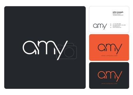 Illustration pour Logo joint amy pour modèle de carte de visite, vecteur - image libre de droit