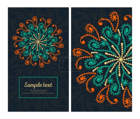 Illustration for Colorful card with ornament - Royalty Free Image