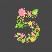 Floral summer Number 5 five Flower Capital wedding Uppercase Alphabet Colorful font with flowers and leaves Vector illustration scandinavian style