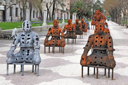 Modern Sculptures at Paseo del Prado street at the historical center of Madrid, Spain.