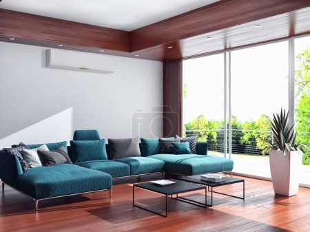 modern bright interiors apartment Living room 3D rendering illustration