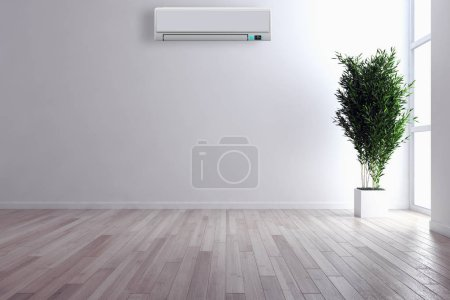 Photo for Modern interior apartment with air conditioning 3D rendering illustration - Royalty Free Image