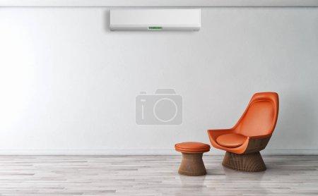 Foto de Interior moderno con ilustración de renderizado 3D de aire acondicionado - Imagen libre de derechos
