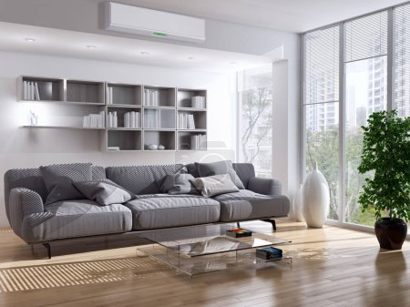 Photo for Modern interior with air conditioning 3D rendering illustration - Royalty Free Image