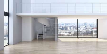 Photo for Modern bright interiors apartment Living room 3D rendering illustration - Royalty Free Image