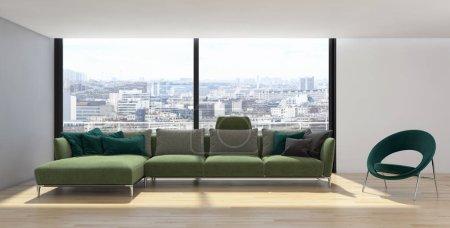 Photo pour Appartement moderne intérieurs lumineux illustration vivante salle 3d rendu - image libre de droit