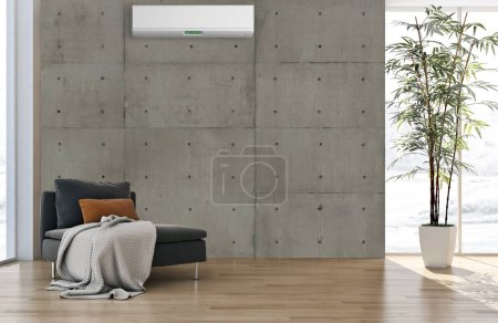 Photo for Modern bright interiors apartment Living room with air conditioning illustration 3D rendering computer generated image - Royalty Free Image