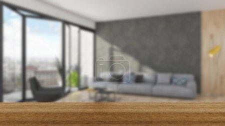 Foto de Tablero de madera vacío Interior de tabla de la parte superior y desenfoque en desenfoque de fondo, maqueta para exhibición de producto - Imagen libre de derechos