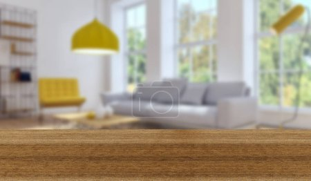 Photo for Wooden board empty Table Top And Blur Interior over blur Background, Mock up for display of product - Royalty Free Image