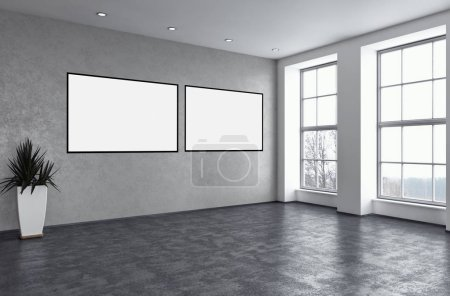 Photo for Modern bright interiors apartment with mock up poster frame illustration 3D rendering computer generated image - Royalty Free Image