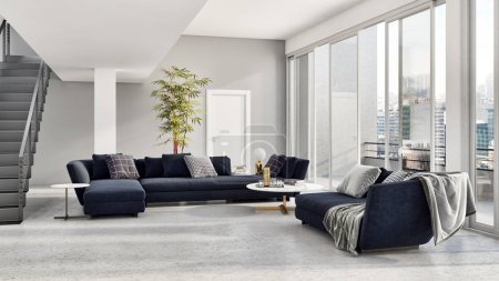 Photo for Large luxury modern bright interiors apartment Living room with sofa and windows 3D rendering illustration computer generated image - Royalty Free Image