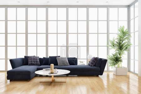 Photo for Large luxury modern bright interiors Living room with 3D rendering illustration computer digitally generated image - Royalty Free Image
