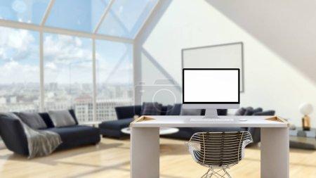 Photo pour Concept de maquette de lieu de travail. Maquette moderne décor de maison ordinateur de bureau Espace de travail de l'artiste avec espace de copie pour les produits Montage d'affichage. . - image libre de droit