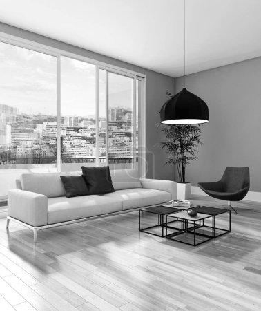 Photo pour Noir et blanc grand luxe moderne intérieurs lumineux salon illustration 3d rendu numériquement image de synthèse - image libre de droit