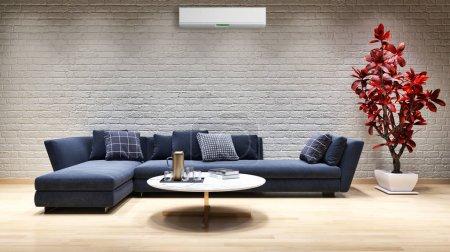 Photo pour Grand luxe moderne intérieurs lumineux avec climatisation illustration rendu 3D image générée par ordinateur pas de photos et pas de propriété privée - image libre de droit