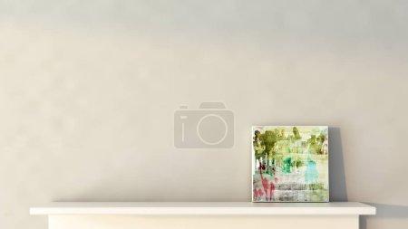 Photo pour Moderne plateau réaliste pour la galerie intérieure et boutique sur le mur avec la lumière et l'ombre en salle blanche vide illustration de rendu 3d - image libre de droit
