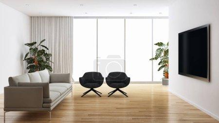 Photo pour Intérieurs lumineux moderne de grand luxe chambre rendu 3d illustration - image libre de droit