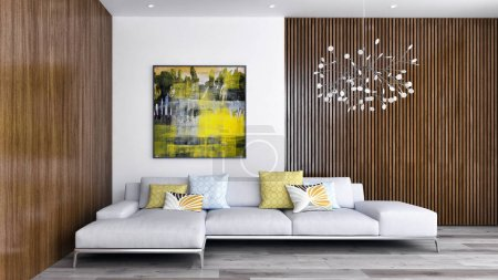 Photo pour Image de synthèse numérique grand luxe moderne intérieurs lumineux salon illustration 3d rendu - image libre de droit