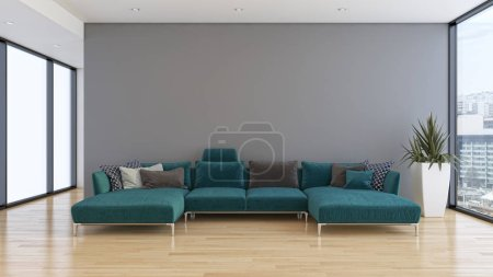 large luxury modern bright interiors room illustration 3D render
