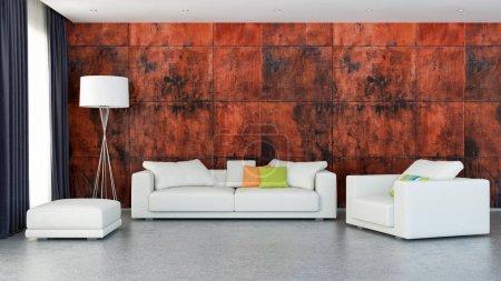 large luxury modern bright interiors room illustration 3D render