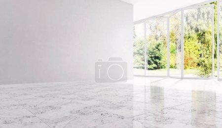 large luxury modern bright interiors Living room illustration 3D