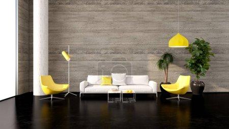 Photo pour Grand luxe moderne intérieur lumineux Illustration de salon rendu 3D image générée numériquement par ordinateur - image libre de droit