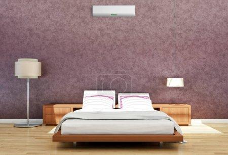 Photo pour Intérieur moderne et lumineux de la chambre à coucher avec climatisation Illustration de rendu 3D Image générée par ordinateur - image libre de droit