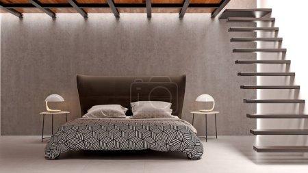 Photo pour Intérieur moderne et lumineux de la chambre à coucher Illustration de rendu 3D image générée par ordinateur - image libre de droit