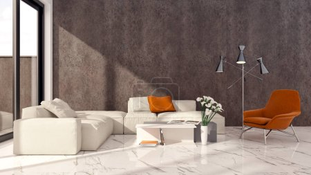 Large luxury modern bright interiors Living room mockup illustration 3D rendering computer digitally generated image