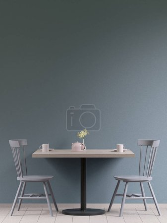 Photo for Mockup poster in the cafeteria interior, chairs and a table with dishes near the wall, 3D render - Royalty Free Image