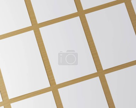 Photo for Corporate stationery set mockup. Blank white brand ID elements, paper sheets on a wooden table. Angled top view. 3D rendering. - Royalty Free Image