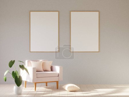 Photo for Modern minimalistic interior with an armchair. Scandinavian style. 3D render. - Royalty Free Image