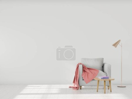 Photo for Minimalistic modern interior with an armchair and a plaid, mockup for your design. You can use this mockup to display your artwork on the wall or wallpaper. 3D render. - Royalty Free Image