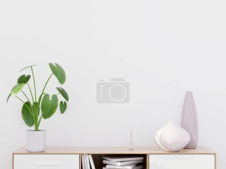 Photo for Modern living room interior with a wooden dresser and a green plant, wall mockup, 3D render - Royalty Free Image
