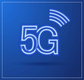 5G technology icon with neon light trail