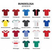 Bundesliga jerseys kit 2018 - 2019 German football league icons  Football or soccer jerseys icons set isolated on white teams from Germany
