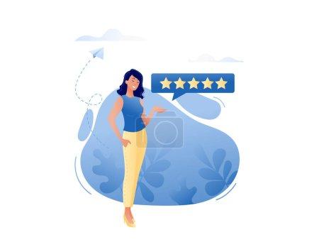 Bonne critique - femme souriante heureuse laissant cinq étoiles pour le produit ou le service en ligne. Critiques, à propos de nous, bon travail satisfait concept de consommateur. Illustration vectorielle plate pour web, landing page, bannière