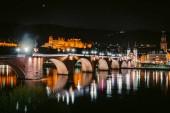Heidelberg city panorama with Neckar river at night, Baden-Wurttemberg, Germany