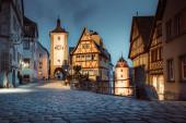 Historic town of Rothenburg ob der Tauber in twilight, Bavaria, Germany