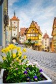 Medieval town of Rothenburg ob der Tauber in summer, Bavaria, Germany