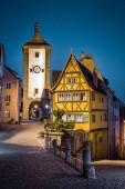 Historic town of Rothenburg ob der Tauber at twilight, Bavaria, Germany