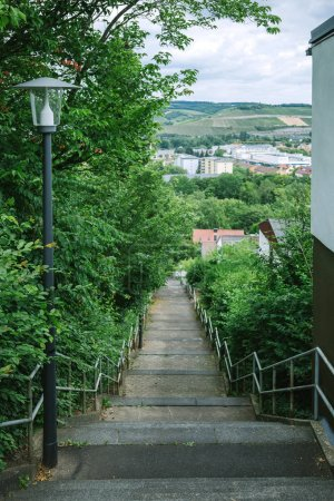 Photo for Staircase, lantern and houses in Wurzburg, Germany - Royalty Free Image