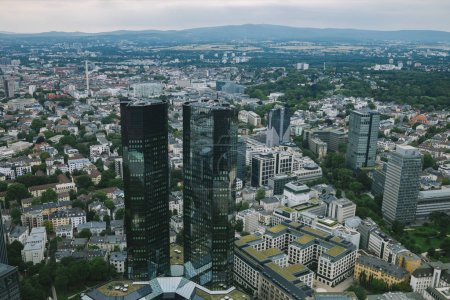 Photo for Aerial view of cityscape with skyscrapers and buildings in Frankfurt, Germany - Royalty Free Image