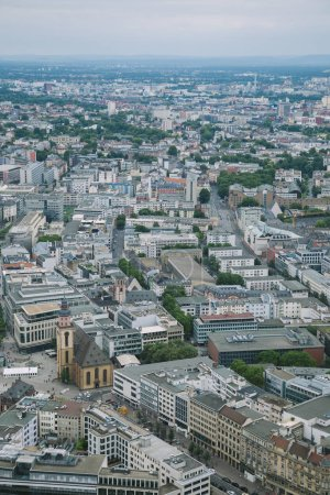 aerial view of cityscape with buildings in Frankfurt, Germany