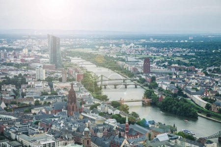aerial view of Main river and buildings in Frankfurt, Germany